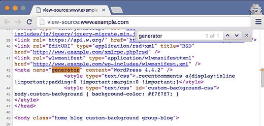 Buscando una etiqueta generadora en el código fuente de un sitio de WordPress
