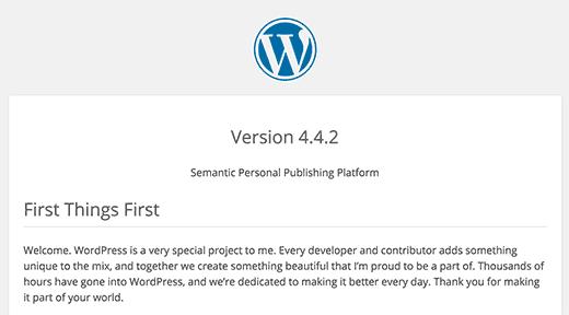 Archivo léame de WordPress