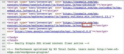 Encontrar la versión del complemento en el código