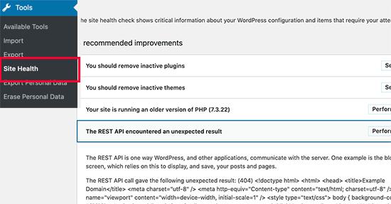 Error de la API REST en la salud del sitio de WordPress