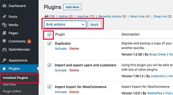 Desactivar todos los complementos de WordPress
