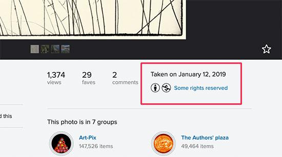 Información de licencia para una imagen en Flickr
