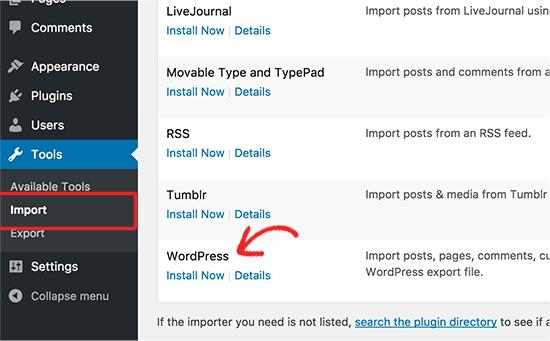 Instalar el importador de WordPress
