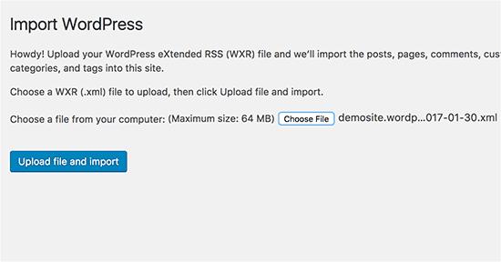 Cargar archivo de importación de WordPress