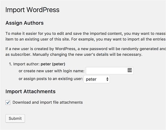 Configuración de importación de WordPress
