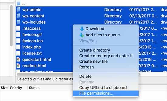 Establecer permisos para todos los archivos