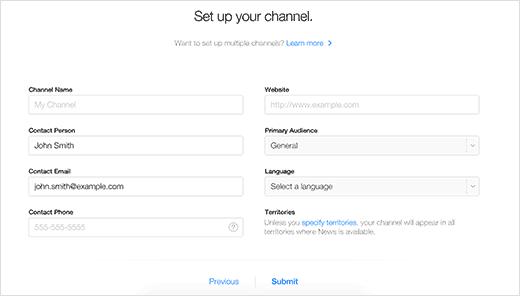 Configurando su canal en Apple News