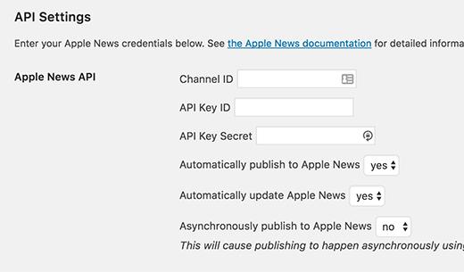 Publicar en la configuración de Apple News