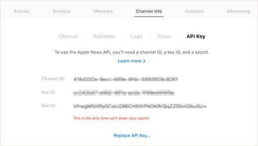 Claves de API de noticias de Apple