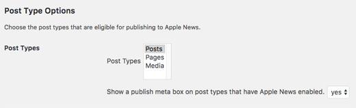 Tipo de publicación de WordPress de Apple News