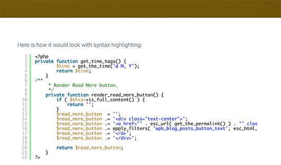 Código mostrado con resaltado de sintaxis
