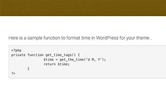 Código PHP mostrado en WordPress