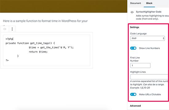 Configuración del bloque de código del resaltador de sintaxis