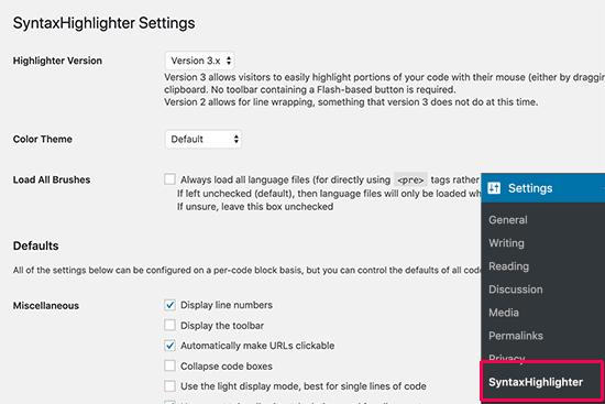 Configuración de SyntaxHighlighter