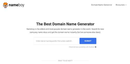 Herramienta generadora de dominio Nameboy