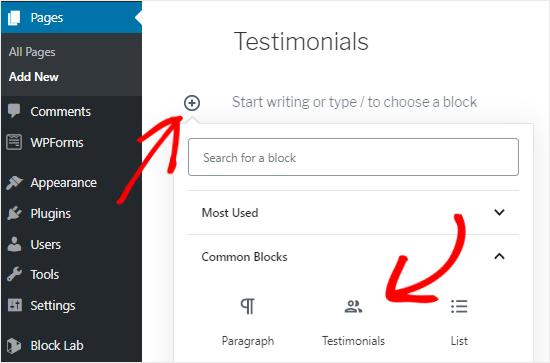 Agregar bloque personalizado al editor de páginas
