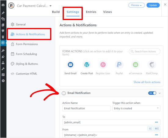 Configuración de notificación de formulario de calculadora de pago de automóvil