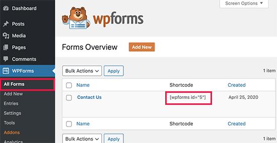 Código corto del formulario de contacto de WordPress para usar en publicaciones y páginas