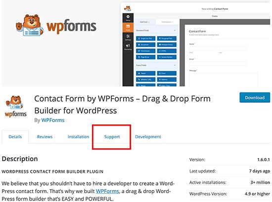 Menú de soporte del complemento de WordPress
