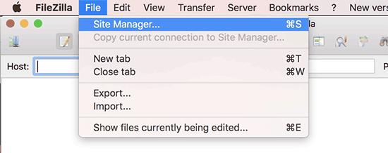 Administrador del sitio en el cliente FTP FileZilla