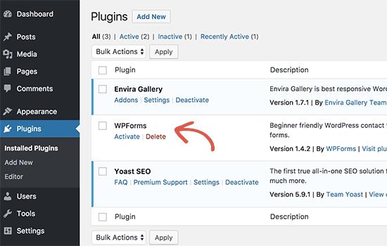 Complemento instalado en el área de administración de WordPress