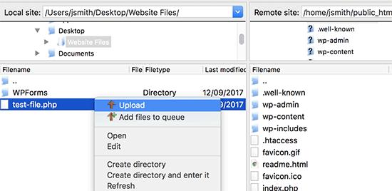 Cargue el archivo desde su computadora a su sitio web