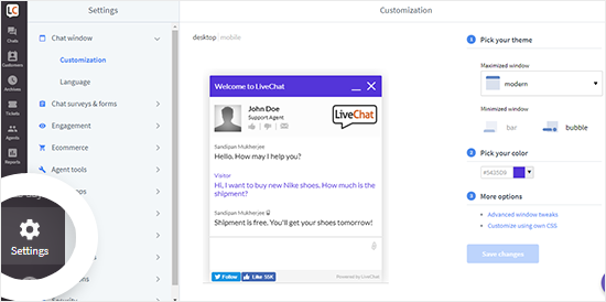 Página de configuración de la cuenta de LiveChat