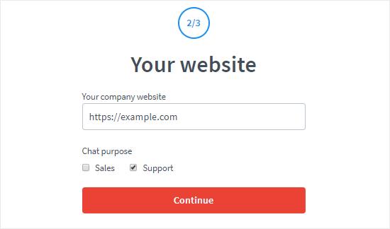 Crea una cuenta LiveChat paso dos