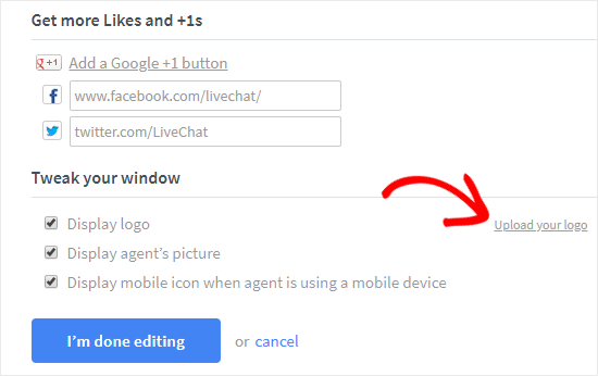 Cargar logotipo y agregar enlaces sociales a LiveChat