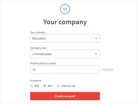 Cree una cuenta de LiveChat paso tres