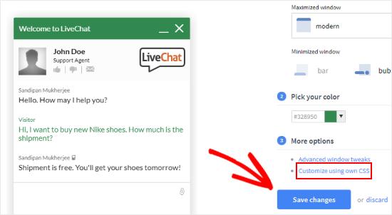 Personaliza LiveChat usando CSS personalizado