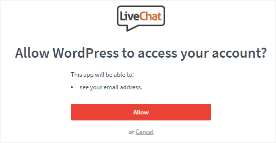 Permitir que WordPress acceda a la cuenta de LiveChat