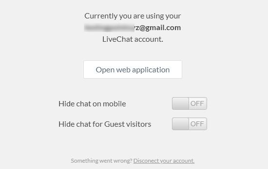 Página de configuración del complemento LiveChat WordPress