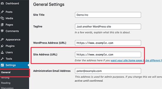 Copie la dirección de su sitio desde la página de configuración de WordPress