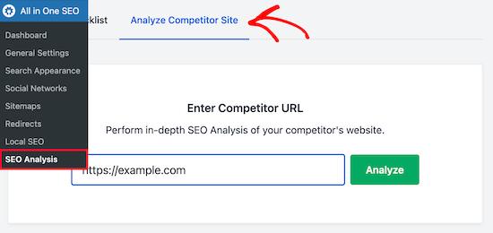 Compruebe el SEO del sitio web de la competencia