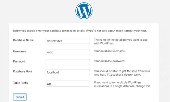 Ingrese la información de su base de datos de WordPress