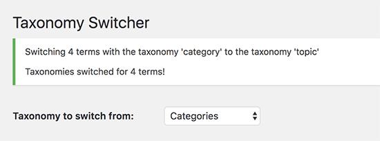 Taxonomías cambiadas con éxito