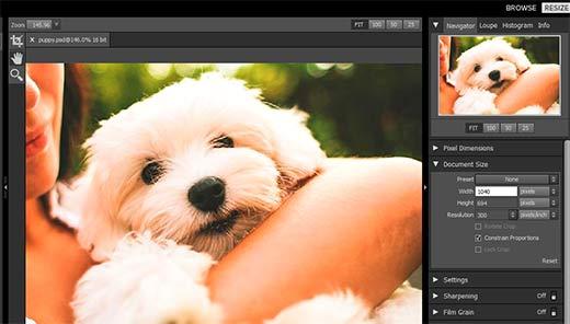 Cambiar el tamaño de una imagen para ampliarla en Perfect Resize