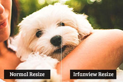 Comparación entre el cambio de tamaño normal y el cambio de tamaño de irfanview