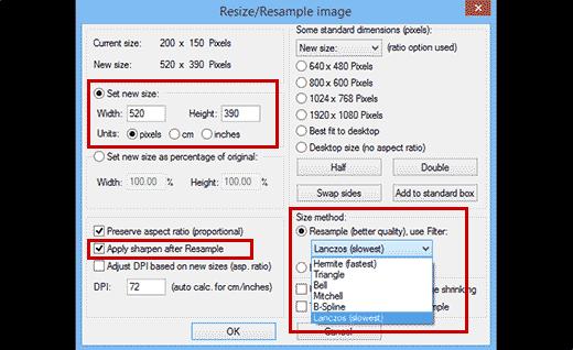 Cambiar el tamaño de las imágenes para agrandarlas en Irfanview