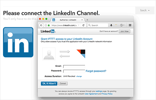 Autorice a IFTTT para acceder a su cuenta de LinkedIn