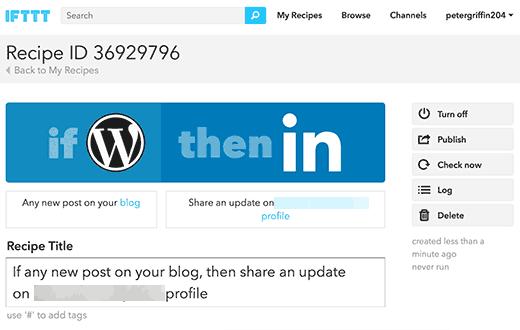 Tu receta de WordPress a LinkedIn en IFTTT