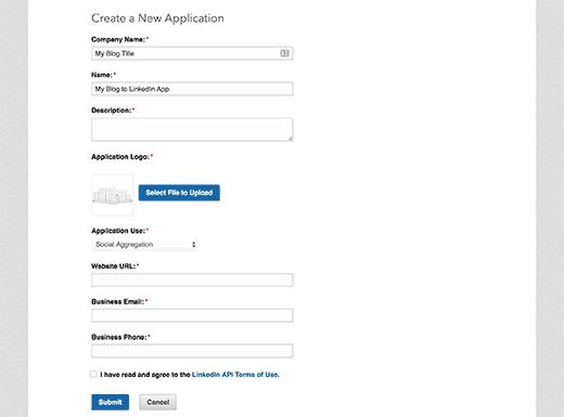 Crear nuevo formulario de solicitud de aplicación
