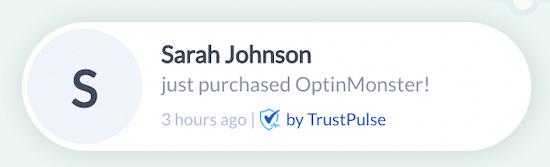 Notificación de alerta TrustPulse