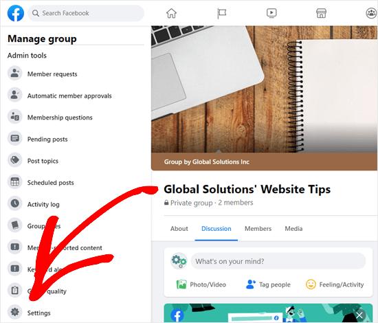 Haga clic en la pestaña Configuración para su grupo de Facebook