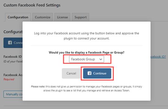 Seleccione Grupo de Facebook en el menú desplegable y haga clic para continuar
