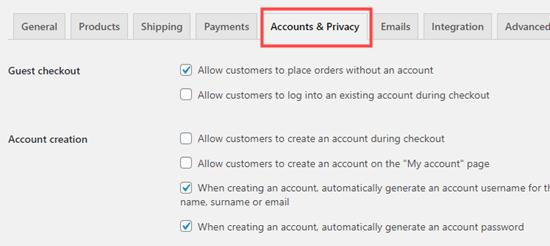 La pestaña Cuentas y privacidad en la configuración de WooCommerce