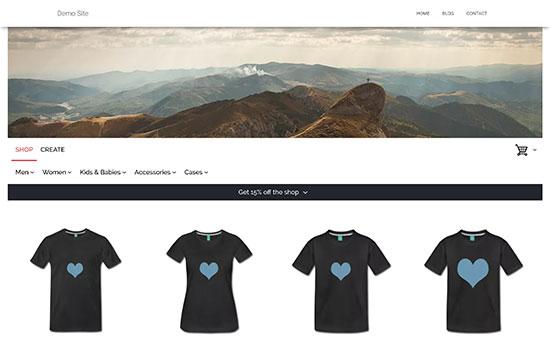 Vista previa de la tienda de camisetas