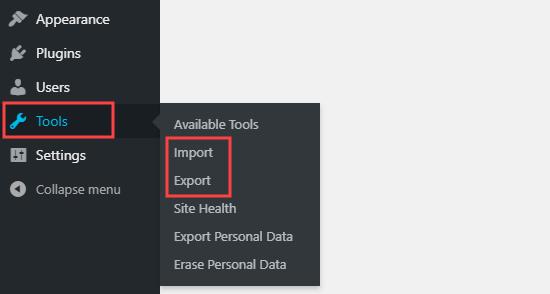 Las opciones de importación y exportación en el menú Herramientas en el panel de WordPress