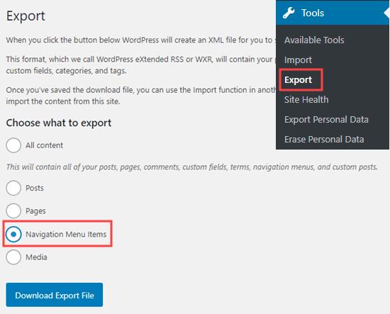 La opción Exportar elementos del menú de navegación en la herramienta Exportar